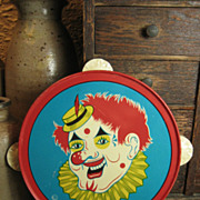 REDUCED Child's Tin Toy Tambourine – Clown Decoration