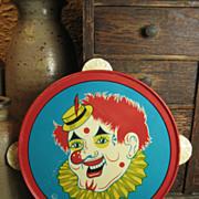 SALE Child's Tin Toy Tambourine – Clown Decoration