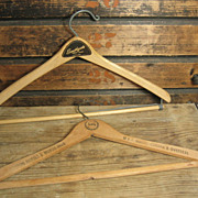 Pair of Vintage Wooden Clothes Hangers – Advertising