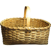 REDUCED Granny's Beautiful Large Old Antique Oak Splint Farmhouse Gathering Basket