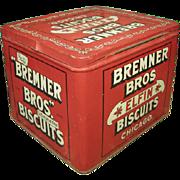 SALE Fabulous Old Vintage Bremner Bros. Elfin Biscuits Tin Advertising Box - Hinged Lid - Exce