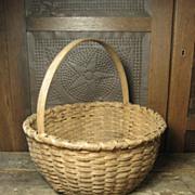 SOLD Grandma's Favorite Old Farmhouse Oak Splint Round Gathering Basket