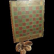SALE Stunning All Original Old Antique Hand Made Slate Tiled and Wood Folk Art Game Board
