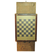 SALE Awesome Old Antique Checkerboard Game Board Under Glass - Unusual