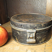 SALE Great Granny's Early Old Primitive Farm Kitchen Round Tin Spice Set w. Six Tins and Lat