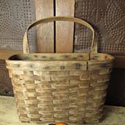 SOLD Grandma's Wonderful Old Wooden Wall Basket w. Handle