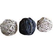 Group of Three Old Vintage Textile Rag Balls