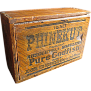 SOLD Old Vintage PHINEKUT Codfish Wooden Box w. Sliding Lid - Advertising