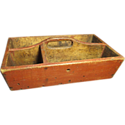 SOLD Granny's Early Old Antique Canted Wooden Primitive Tote - Old Red Paint, Square Nails