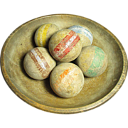 Grandpa's Early Old Set of Six Croquet Balls w. Worn Old Paint