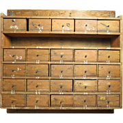 SOLD Grandpa's Awesome Old Primitive Hand Made Apothecary 25 Drawer Wall Unit