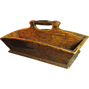 SALE PENDING Gorgeous Early Old Primitive Antique Hand Carved Wooden Tote Carrier - Square and