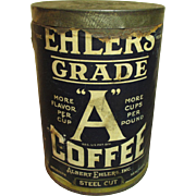 Wonderful Old EHLERS Grade A Coffee Advertising Tin Can - Paper Label - Dated 1927