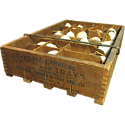 Awesome Early Wooden Old Star Egg Carrier w. Wooden Eggs - 1903 Advertising