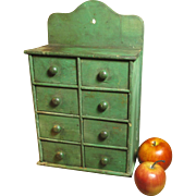 SOLD Fabulous Early Antique Farmhouse Kitchen Spice Cabinet w. Best Old Dry Green Paint