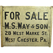REDUCED Outstanding Early Antique Wooden Double-Sided FOR SALE/FOR RENT Sign - Pennsylvania -