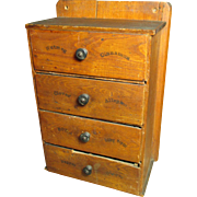 SOLD Great Granny's Early Old Farmhouse Kitchen Primitive 4 Drawer Spice Chest Apothecary Cabi