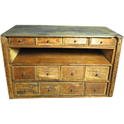 SOLD Grandpa's Early Old Wooden Primitive 12 Drawer Barn Cabinet