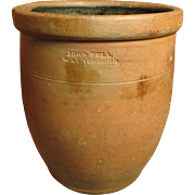 Fabulous Early Old Redware Crock Jar - John Bell - Waynesboro