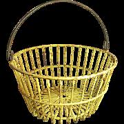 Grandma's Large Old Metal Farm Barn Basket - Old Mustard Yellow Paint