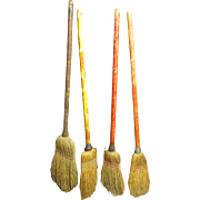 Charming Set of Four Old Child Size Farmhouse Brooms