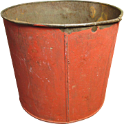SALE Grandma's Wonderful Old Vintage Metal Maple Syrup Sap Bucket - Old Red Paint