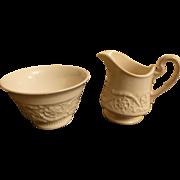 Wedgwood Patrician - Plain (Old) Open Sugar Bowl & Mini Creamer