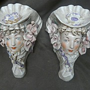 SOLD Gorgeous Cordey Lady Head Wall Pocket Vases - Set of Two - Red Tag Sale Item