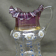 SALE Victorian Enamel Decorated Glass Pitcher