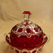 SOLD EAPG Ruby Flash Red Block Covered Butter Dish