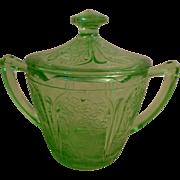 Green Depression Sugar Bowl with Lid - Cherry Blossom