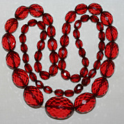 "SALE Vintage 30"" Long Graduate Faceted Cherry Amber Bakelite Necklace"