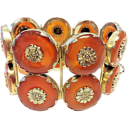 SALE Vintage Chinese Gilded Sterling Silver Floral Repousse Carnelian Donut 2 Row Hinged ...