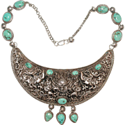 Vintage Chinese Massive Sterling Silver Repousse Foo Dog Turquoise Pendant Charms Choker ...