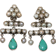 Pair of Vintage Sterling Silver Pearl and Turquoise Dangling Chandelier Earrings 28.3 Grams 2