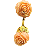 Very Fine Victorian 14K Yellow Gold Mediterranean Carved Angel Skin Pink Coral Rose Dangling .