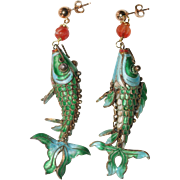 Vintage Chinese Gilt Silver Enamel Carved Carnelian Koi Fish Earrings with 14K Gold Filled ...