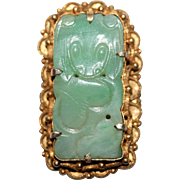 Vintage Chinese Gold Gilded Silver Filigree Floral Carved Apple Green Jadeite Jade Bat Peach .
