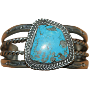 Vintage Native American Sterling Silver Turquoise Cuff Bangle Bracelet 58.88 Grams