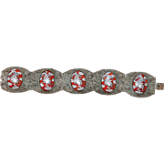 Vintage Chinese Silver Plated Filigree Red and White Enamel Dragon Hinged Bracelet