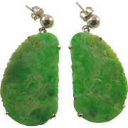 Art Deco 14K White Gold Carved Apple Green Jadeite Bat Coin Earrings with Posts