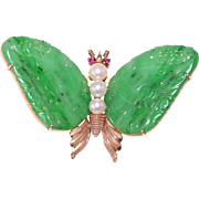 Exceptional Art Deco Chinese 14K Yellow Gold Carved Rich Emerald Apple Green Jadeite Jade ...