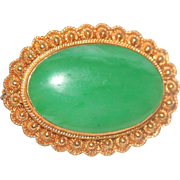 Exceptional Classic Antique Chinese 24K Yellow Gold Filigree Floral Rich Apple Green Jadeite .