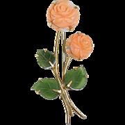 """Vintage Signed """"KREMENTZ"""" (Krementz) Gold Tone Metal Carved Angel Skin Coral Rose Fl"""