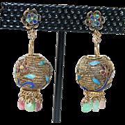 Vintage Chinese Gold Gilt Silver Filigree Enamel Lantern Apple Green Jade Pink Tourmaline ...