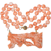 Vintage Chinese 14K Gold Carved Peachy Pink Red Coral Dragon Pendant Necklace 66.5 Grams