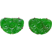 Art Deco Chinese 14K Yellow Gold Carved Emerald Green Jadeite Jade Butterfly Earrings with ...