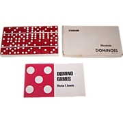 SOLD Red Puremco Marblelike Dominoes, Standard No. 616 w/ Booklet, c.1980
