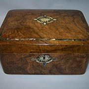 "Burl Walnut Victorian Box, ""Cushion"" Shaped, w/ MOP, Abalone, c.1860"
