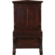 Empire 1840 Antique Mahogany Secretary Desk, Bookcase Top